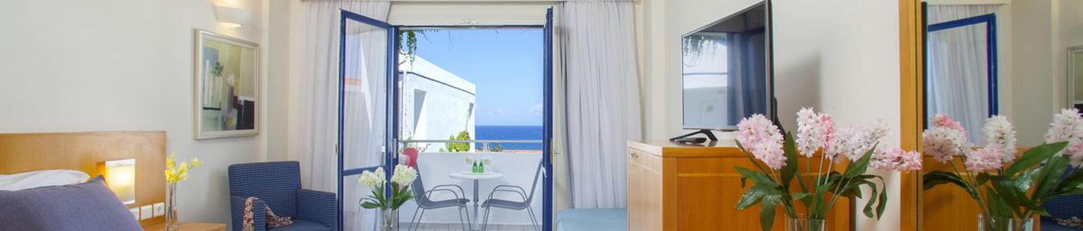 Superior room with sea view plagos beach hotel  greece